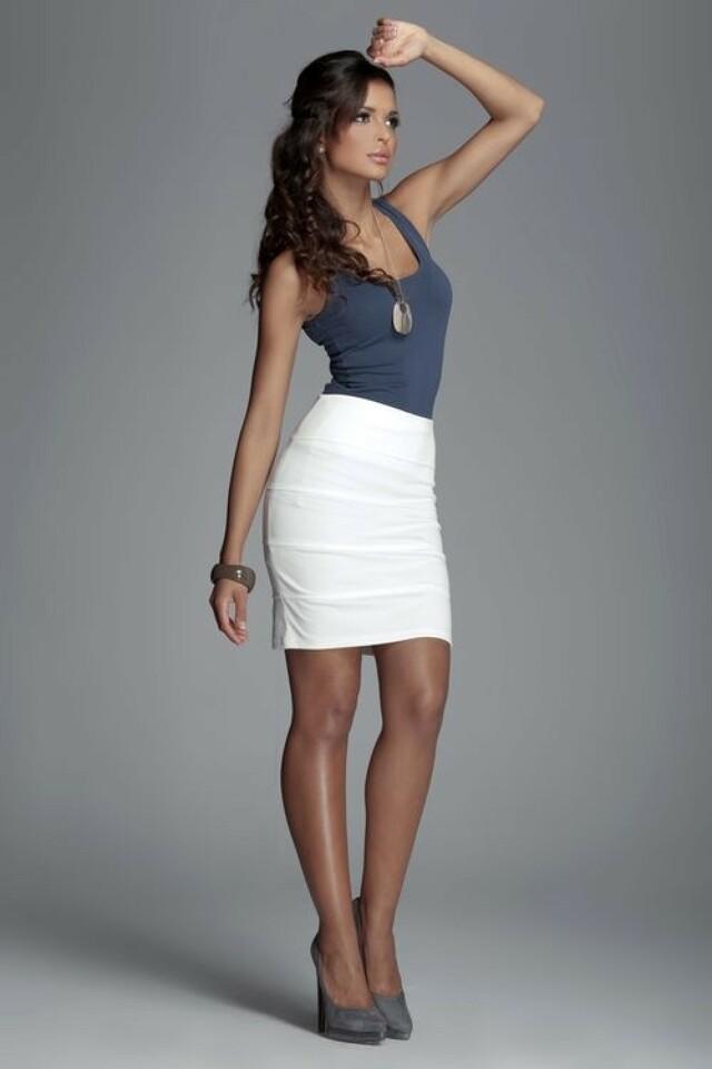 Dámská sukně M084 ecru - XL - krémová