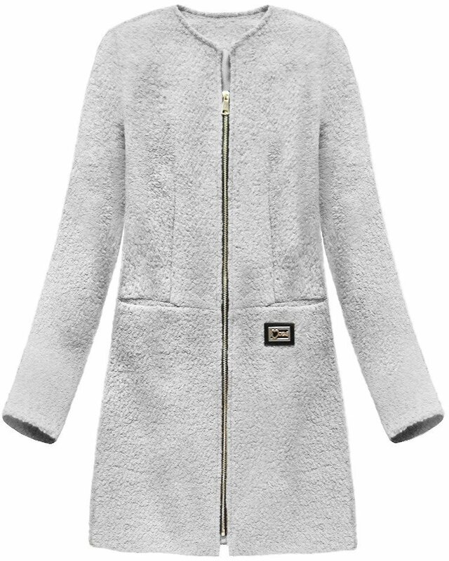 Šedý dámský vlněný kabát (22643) - XL (42) - šedá
