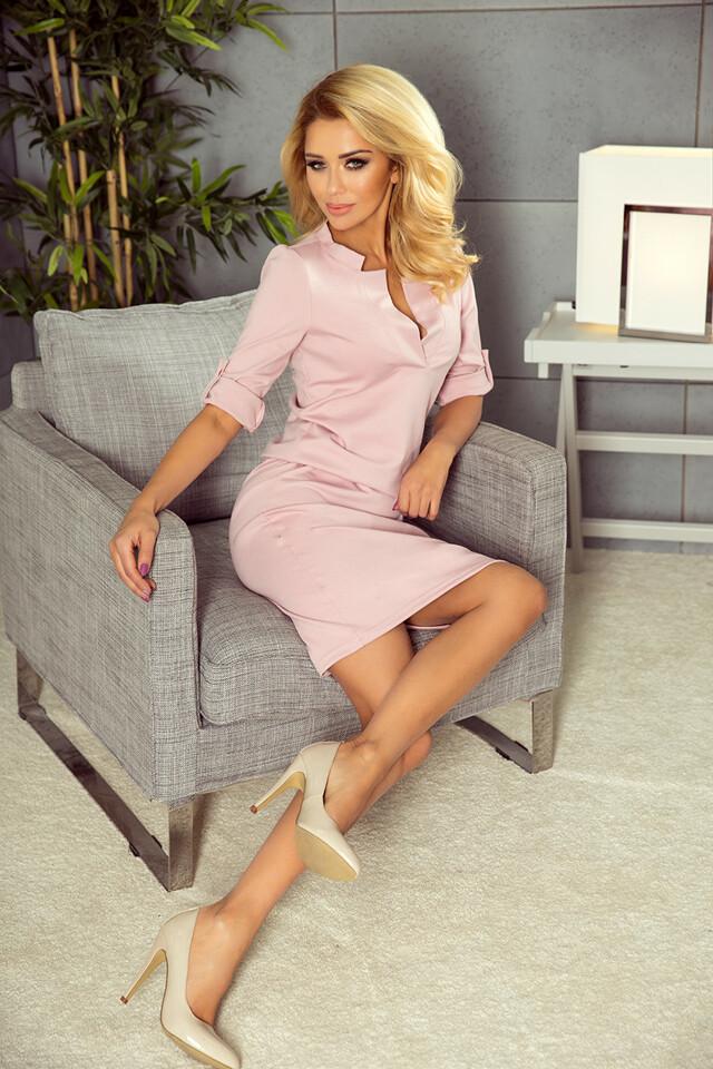 161-5 AGATA - Špinavě růžové šaty s límečkem - XL