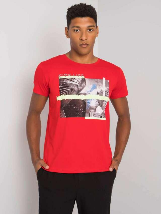 Pánské červené bavlněné tričko - L