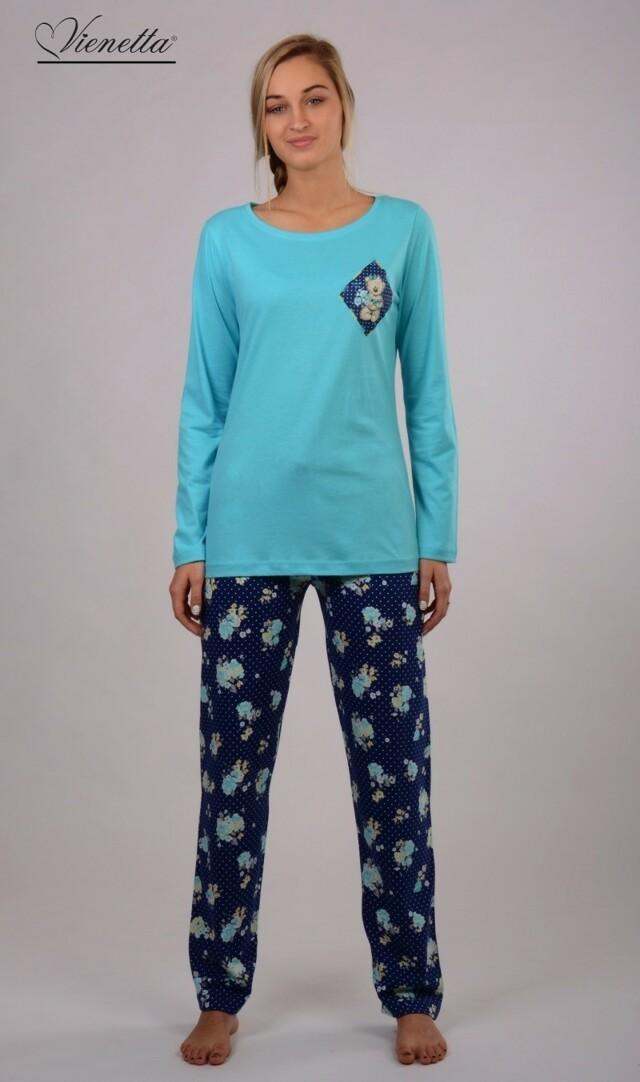 Dámské pyžamo dlouhé Medvěd a růže - lososová XL