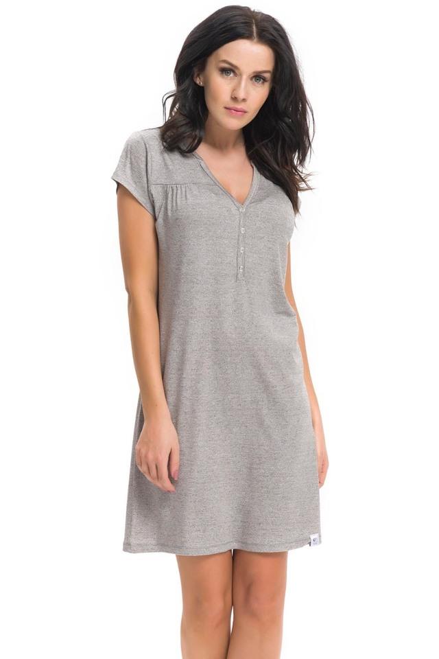 Kojící/těhotenská noční košile Dn-nightwear TCB.9117 - XL - dark grey