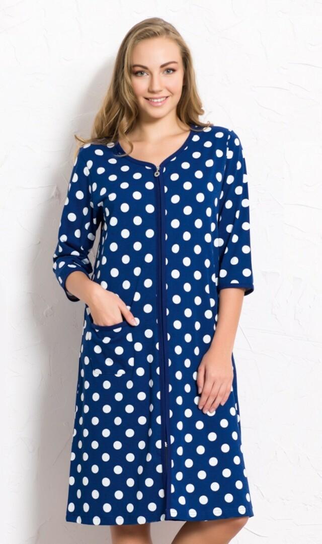 Dámské domácí šaty s tříčtvrtečním rukávem Puntíky - tmavě modrá M