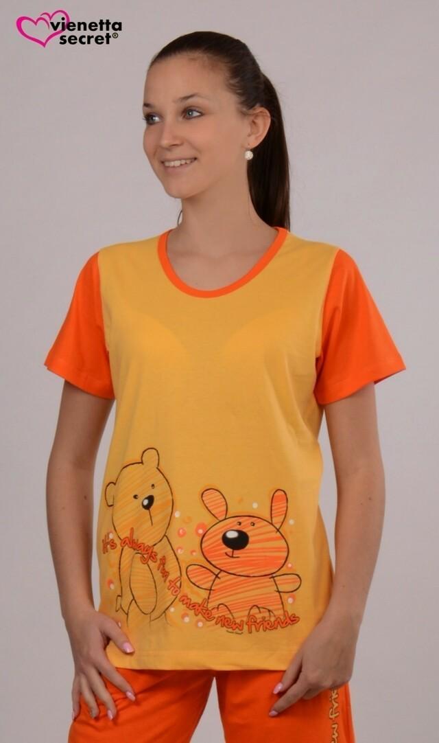 Dámské pyžamo kapri Přátelé - žlutá/oranžová S