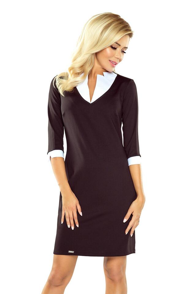 Černé šaty s hranatým límečkem - L