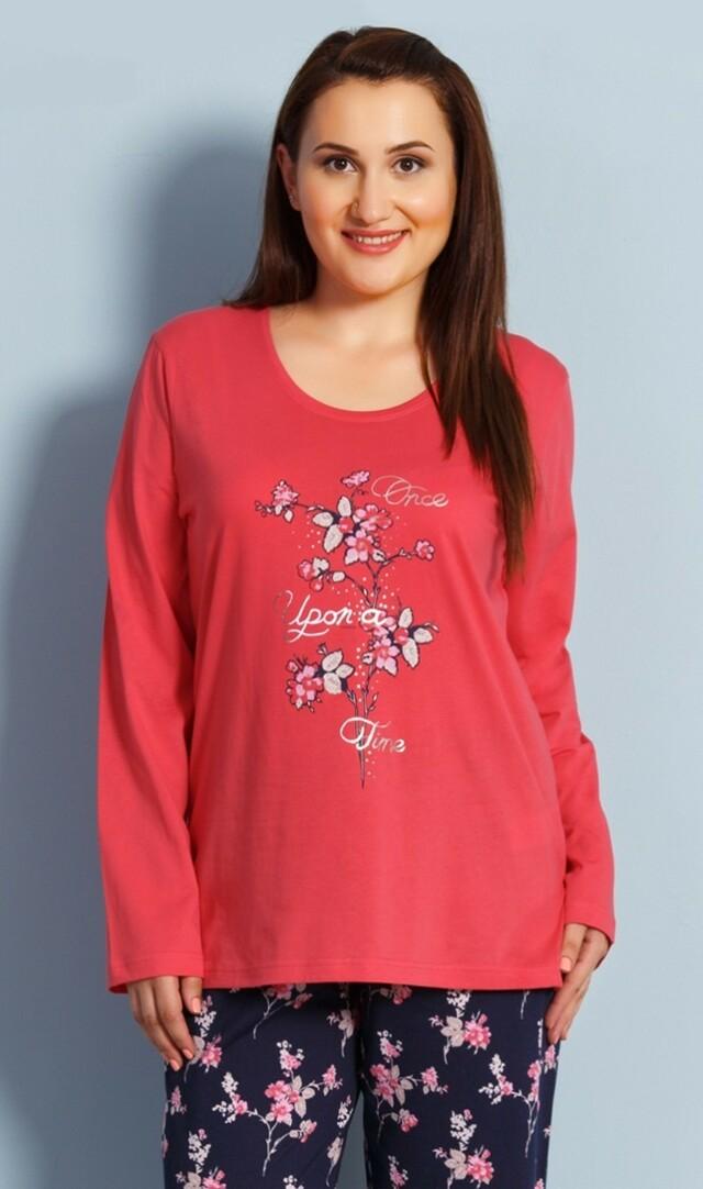 Dámské pyžamo dlouhé Jindřiška - korálová 1XL