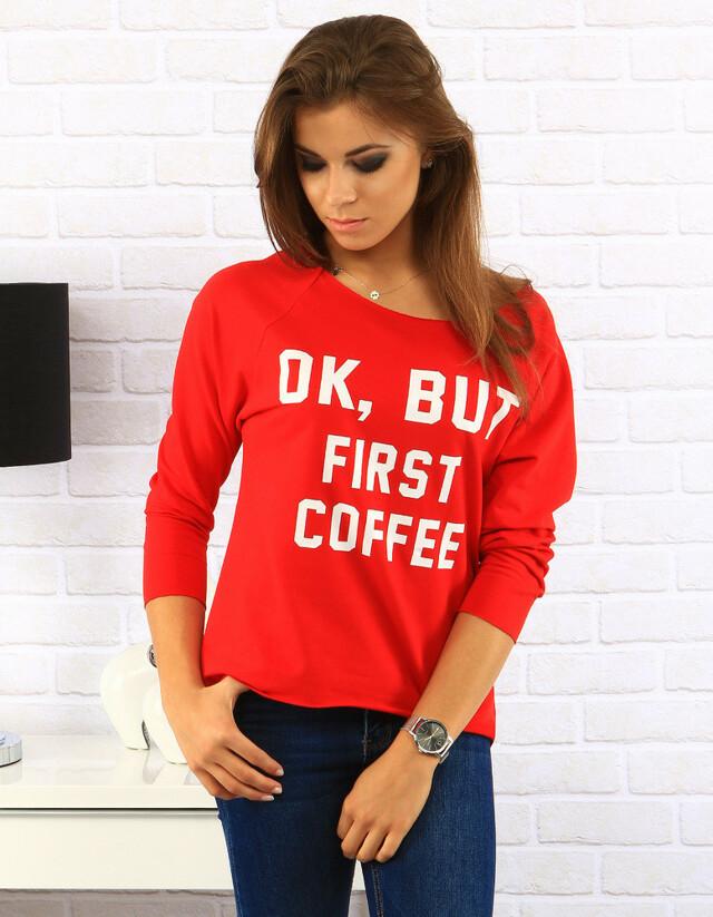Červená halenka First Coffee (ry0170) - Best Look