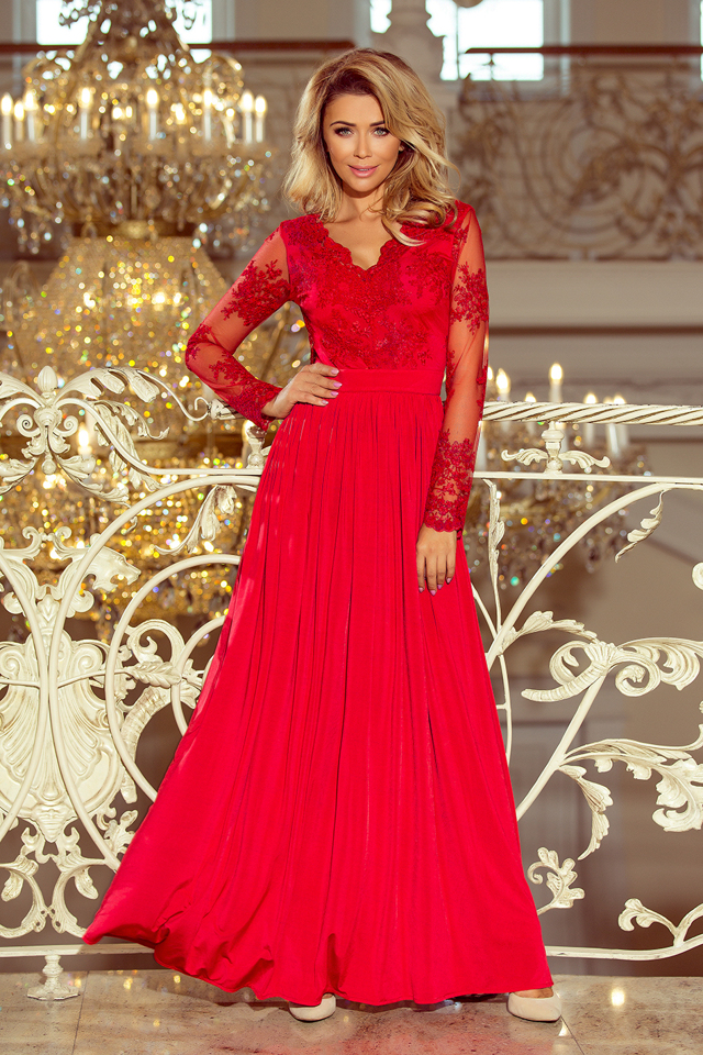 Dlouhé červené dámské šaty s dlouhými rukávy a vyšívaným výstřihem 213-3  ARATI - XL 0a594b00b2