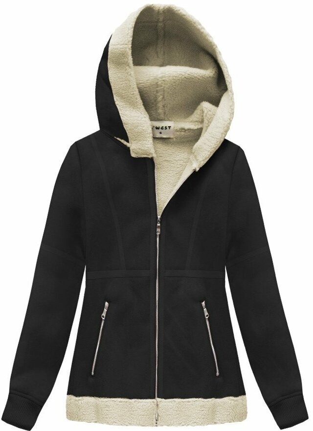 Černý semišový kožíšek s kapucí (S-1806) - XL (42) - černá