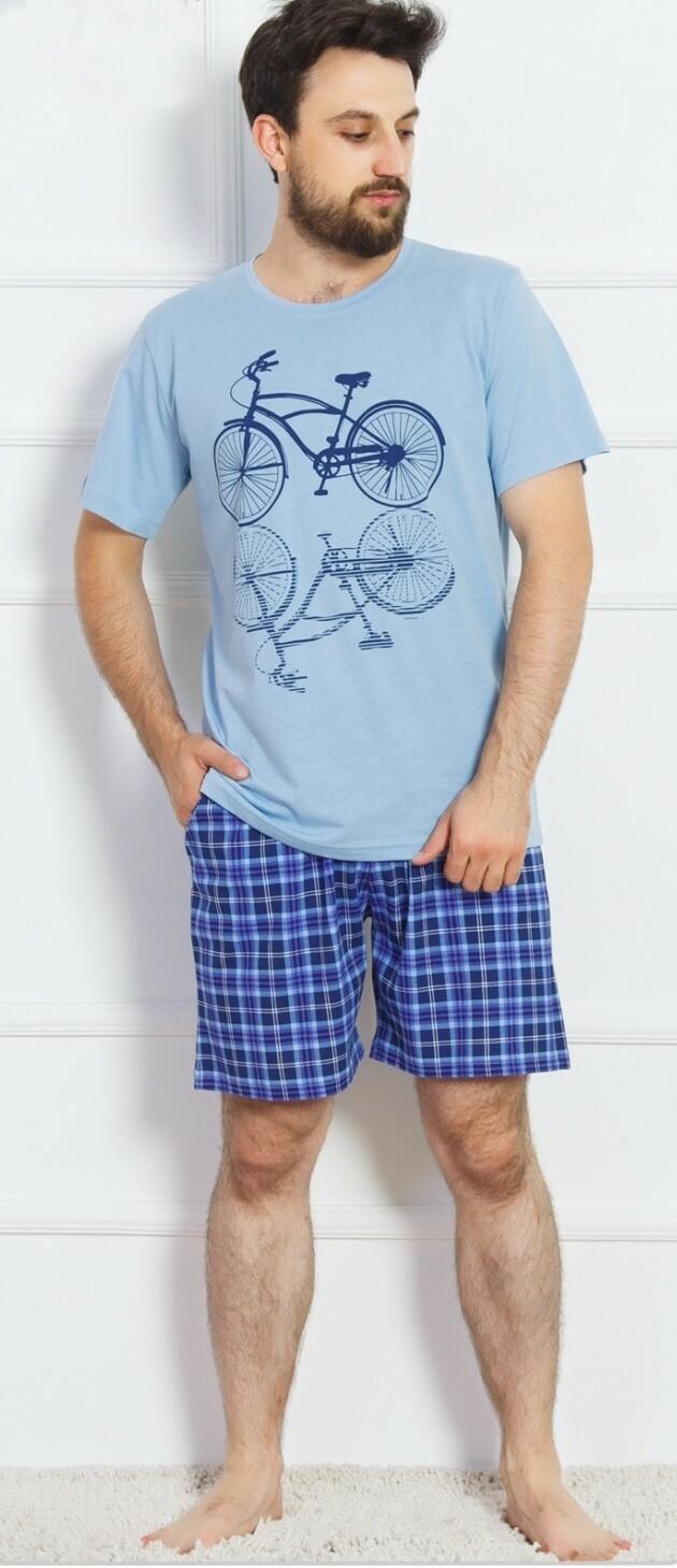 Pánské pyžamo šortky Kolo - světle modrá XL