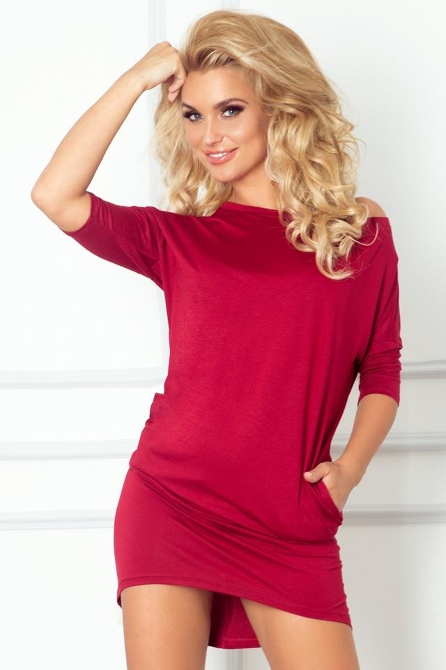 Bordó dámské šaty 64-3 - XL