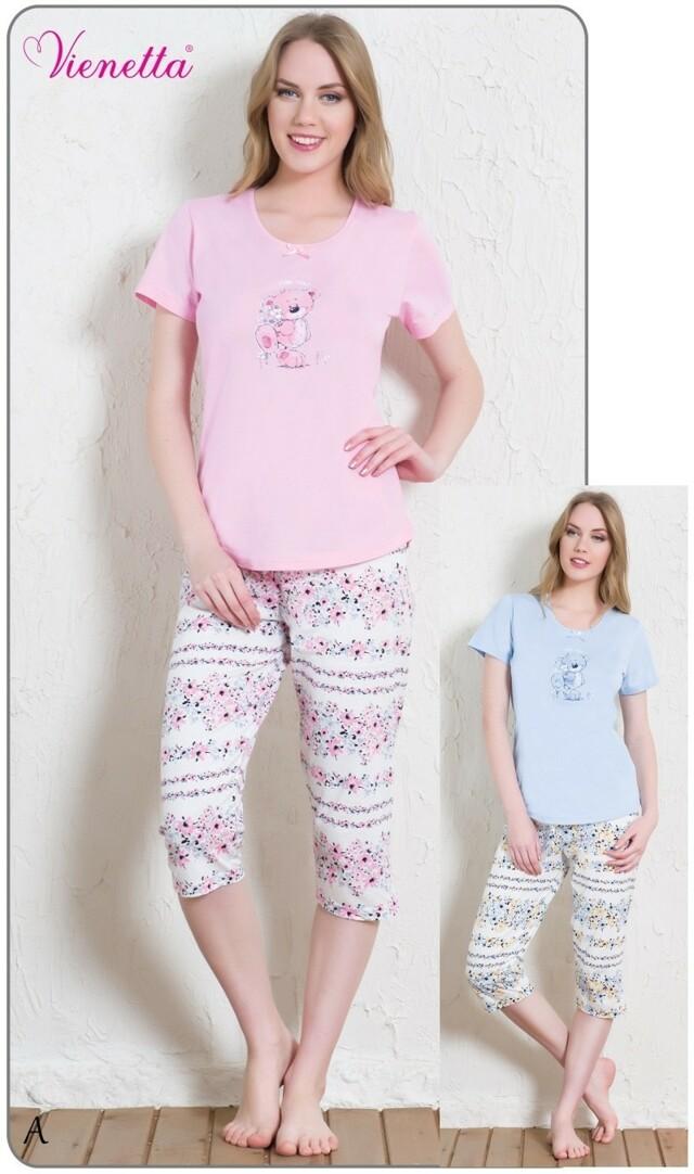 Dámské pyžamo kapri Méďa s kytkou