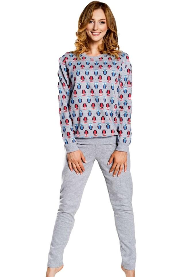 Dámské pyžamo Sowa - M - šedá