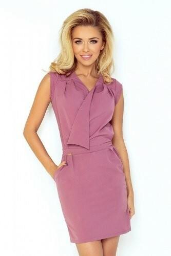 Růžové šaty s překládaným výstřihem 94-10 - XL