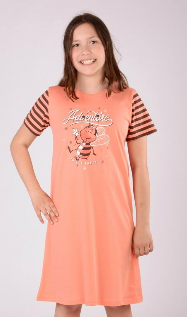 Dětská noční košile s krátkým rukávem Včela - žlutá 7 - 8