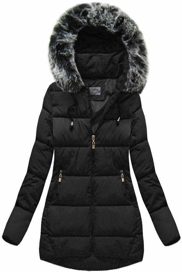 Černá dámská zimní bunda s kapucí (R1026) - XL (42) - černá