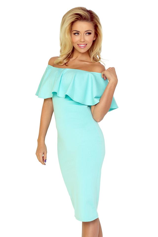 Mátové šaty s volánkem 138-1 - S
