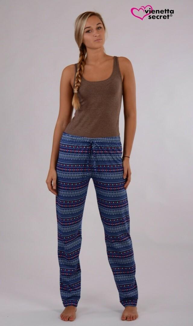 Dámské pyžamové kalhoty Klára 4325 - Vienetta - S - tm.modrá potiskem