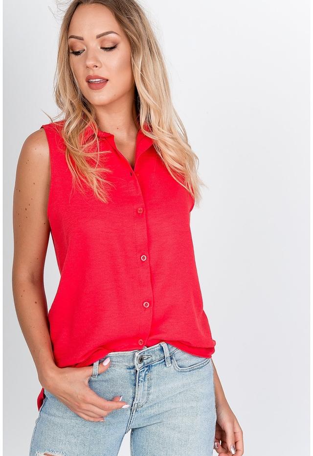 Dámská košile bez rukávů s hladkou strukturou, knoflíky a límečkem - S - Malinová