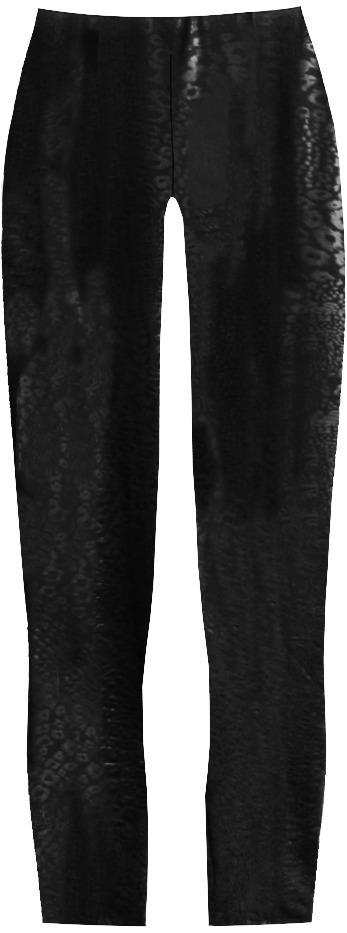 Černé lesklé legíny s panteřím vzorem (322ART) - ONE SIZE - černá