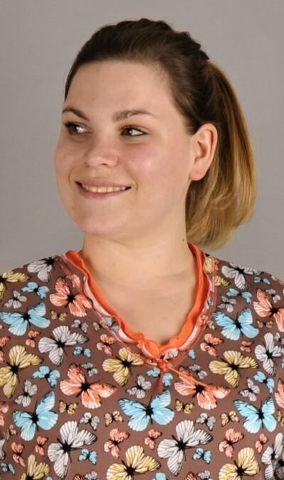 Dámská noční košile s krátkým rukávem Magda - hnědá 1XL