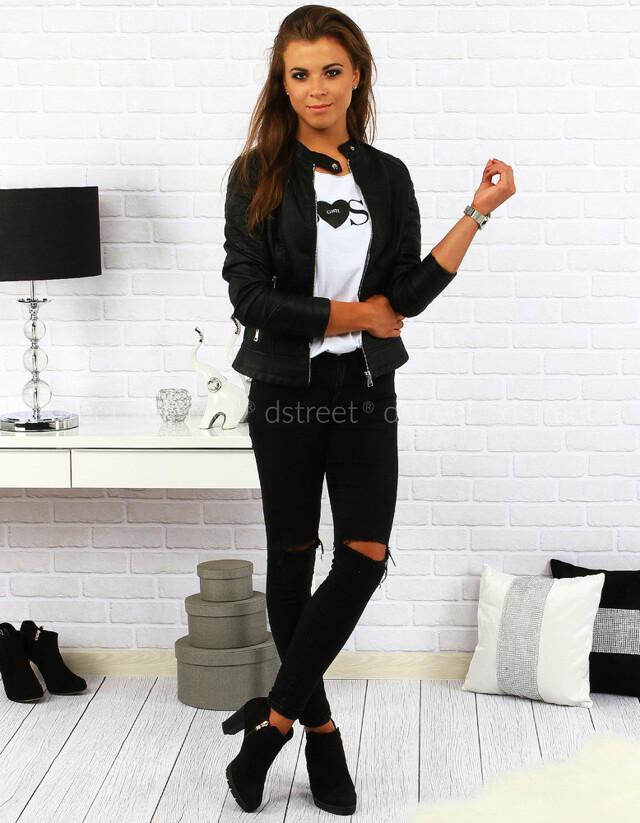 Dámská kožená bunda BOLAN88788 - FeiFa - S - černá