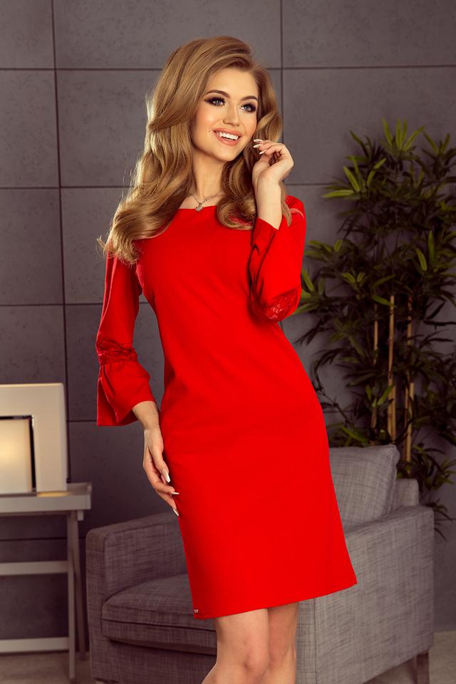 1873881fd17c Červené dámské šaty s krajkou na rukávech 190-3 MARGARET - S