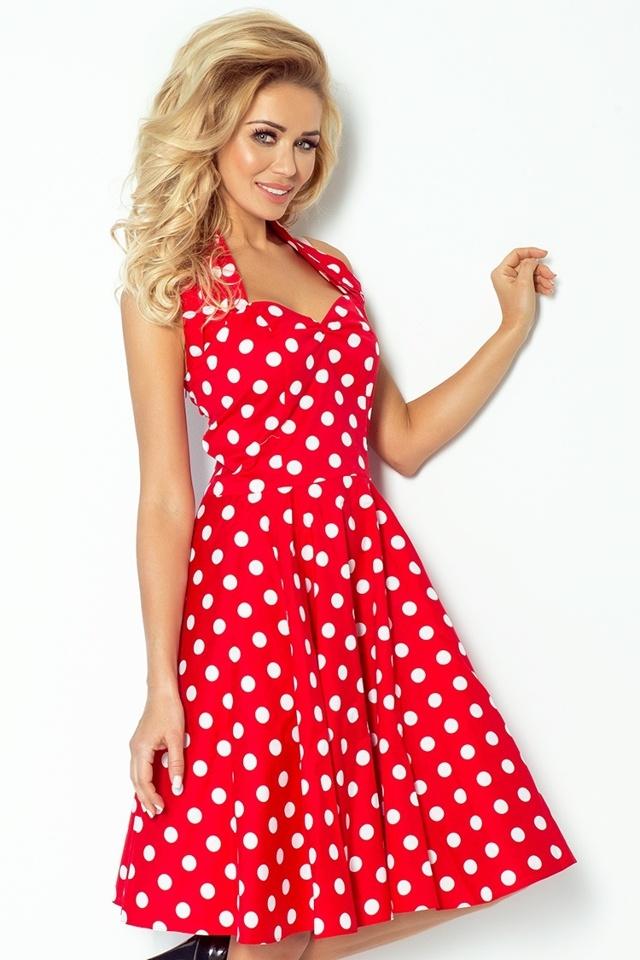 Červené rockabilly pin up šaty s puntíky 30-12 - UNI