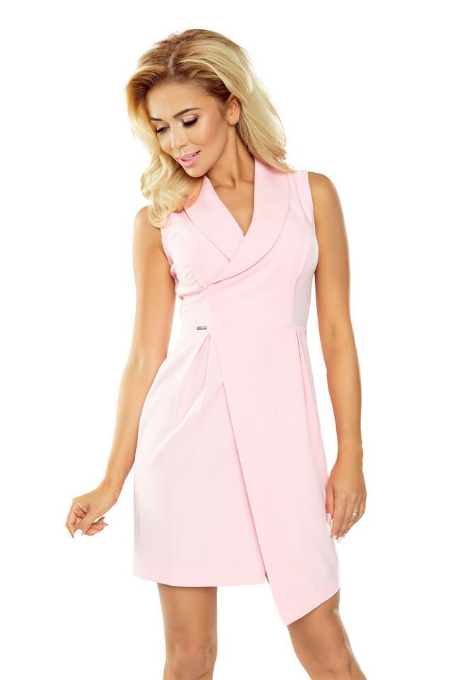 Pastelově růžové šaty se širokým límcem 153-1 - S