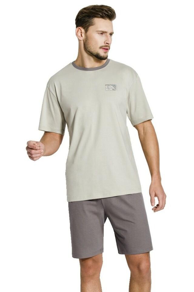 Pánské pyžamo Artur hnědé krátké