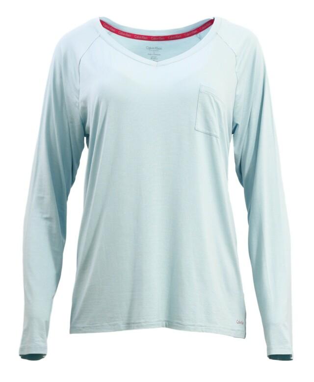 Dámské tričko na spaní QS5322E - Calvin Klein - L - modrozelená