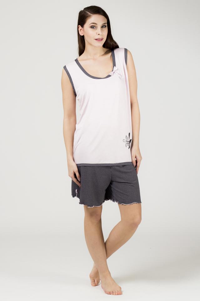 Dámské pyžamo BIG 634 GAST - CoCoon - XXL - růžovo-černá