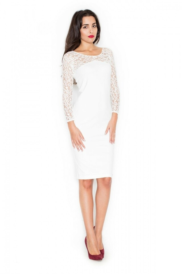 Dámské šaty K322 ecru - M - krémová