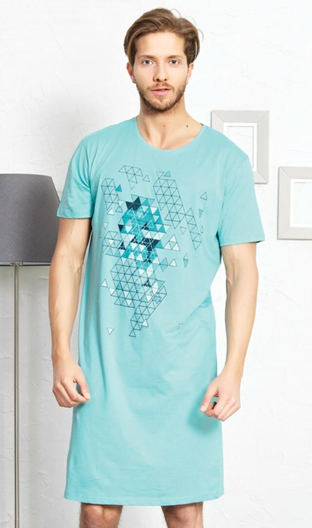 Pánská noční košile s krátkým rukávem Šimon - azurová M