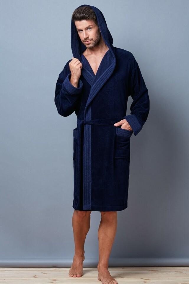 Pánský župan Pedro dark blue - 188 XXL - tmavě modrá