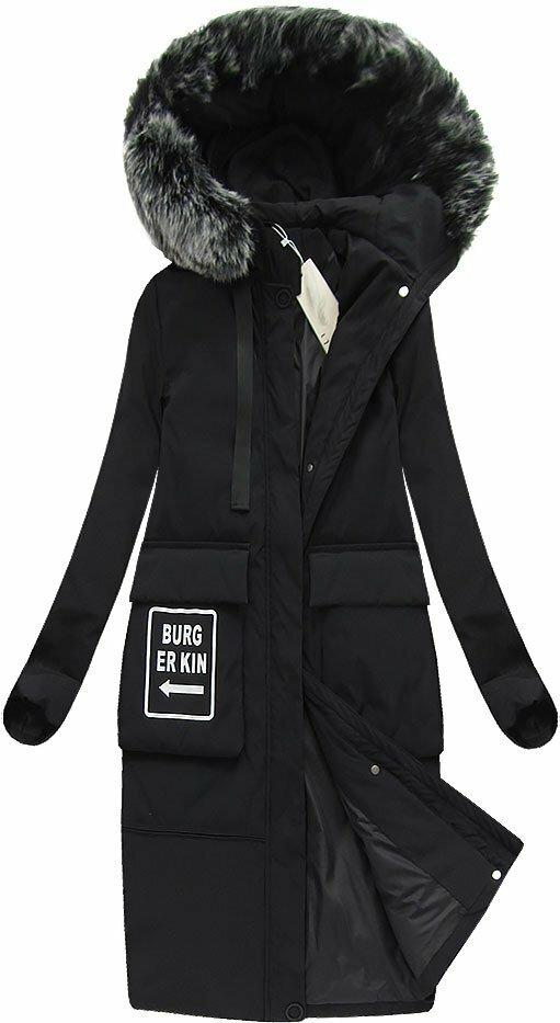 Černý dámský zimní kabát s přírodní vycpávkou (X7093X) - S (36) - ceba2fb7d4