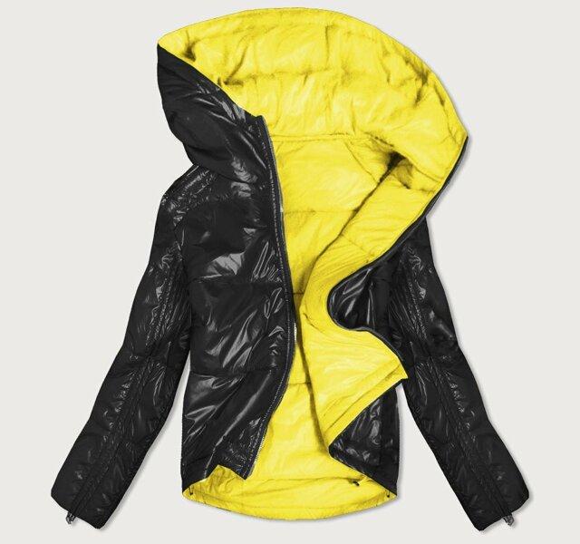 Oboustranná černo-žlutá lesklá dámská bunda (B9553) - M (38) - žlutá