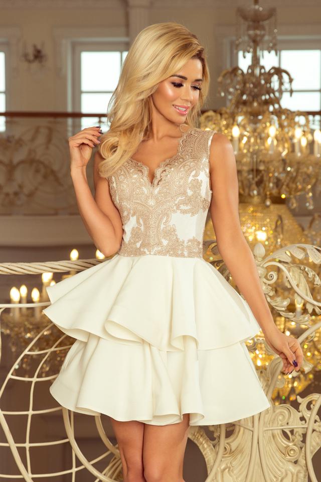 c52af44b7245 Dámské šaty s krajkovým dekoltem CHARLOTTE - L