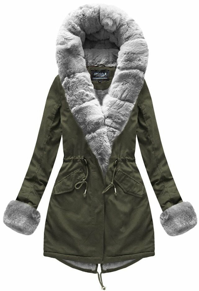 Khaki dámská zimní parka s kapucí (XW793X) - XS (34) - khaki