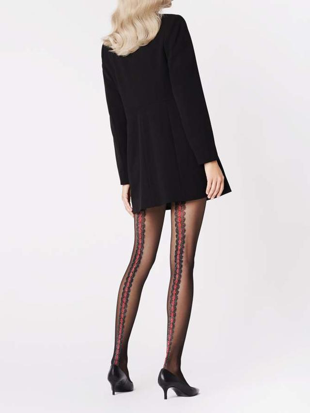 Dámské punčochové kalhoty Fiore Corallo G 5893 20 den - 4-L - black-red/černá-červená
