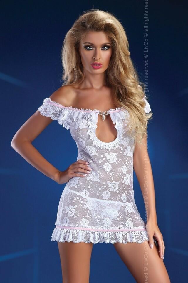 Erotické šaty Mija white - L/XL - bílá