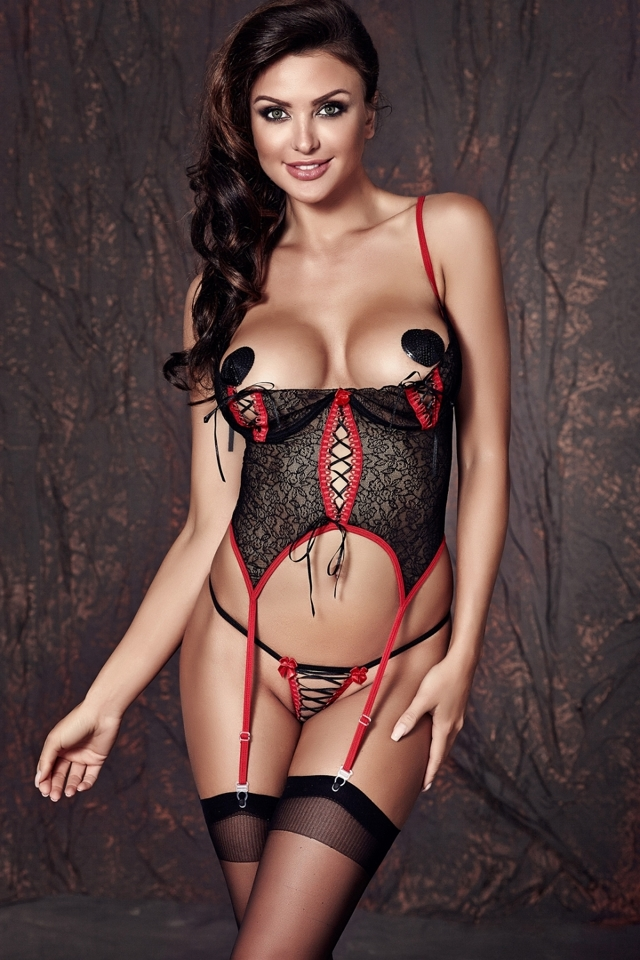 Erotický korzet Jade - M - černo-červená