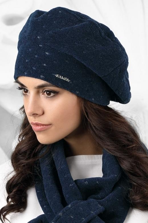 Dámský baret model 163229 tmavě modrá - Kamea - uni - tmavě modrá