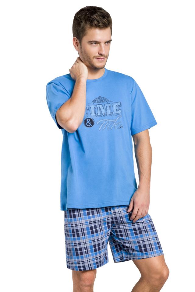 Pánské pyžamo Nick modré krátké - XL