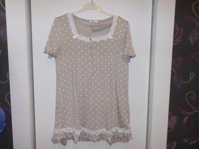 Dámské pyžamo 3140 -Vamp - L - béžová/bílý puntík