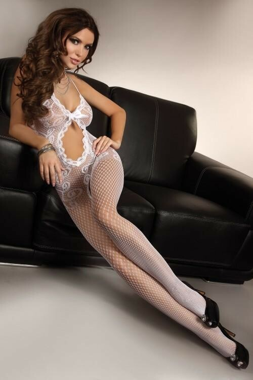 Bodystocking Magali white - S/L - bílá
