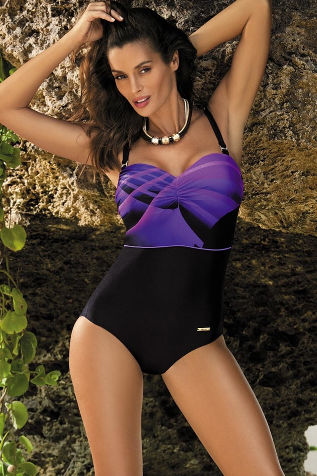 Dámské jednodílné plavky Marko Selena M-420 - 4XL - nero-incanto