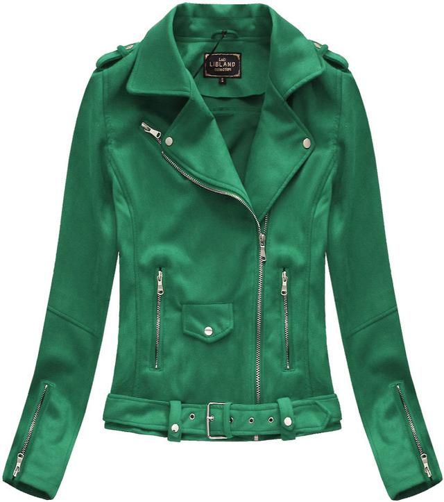 Zelená dámská bunda ramoneska se sponou (6006) - S (36) - zelená