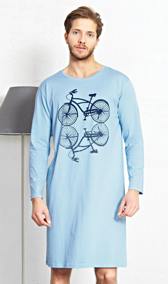 Pánská noční košile s dlouhým rukávem Velociped - světle modrá S
