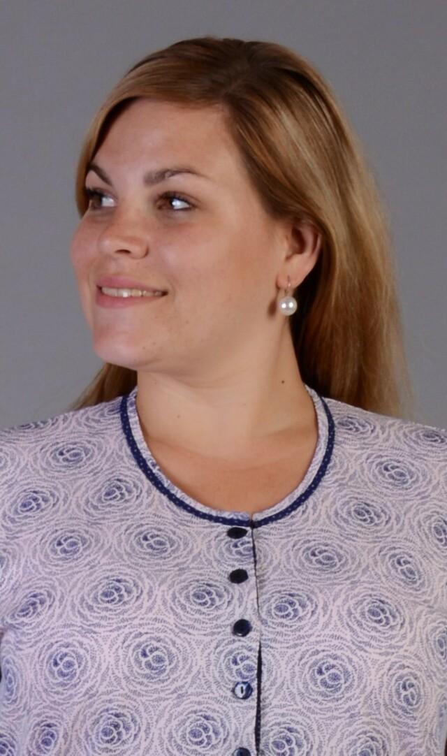 Dámská noční košile s krátkým rukávem Natálie - modrá M